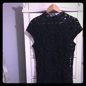 Lulus black crochet lace dress size L